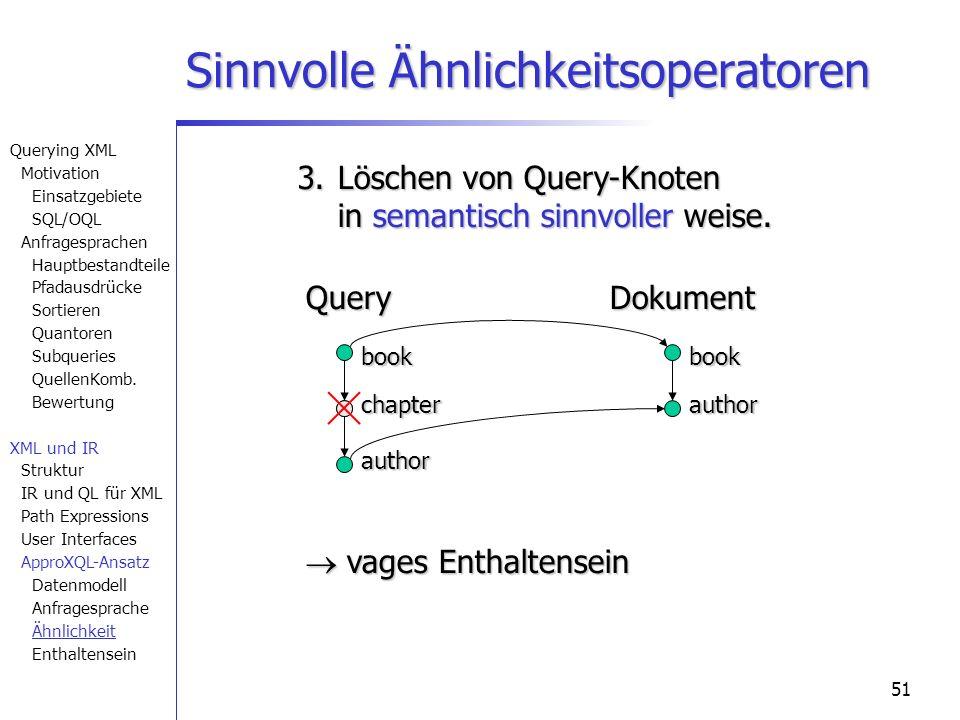 51 Sinnvolle Ähnlichkeitsoperatoren book author book QueryDokument 3. Löschen von Query-Knoten in semantisch sinnvoller weise. vages Enthaltensein vag