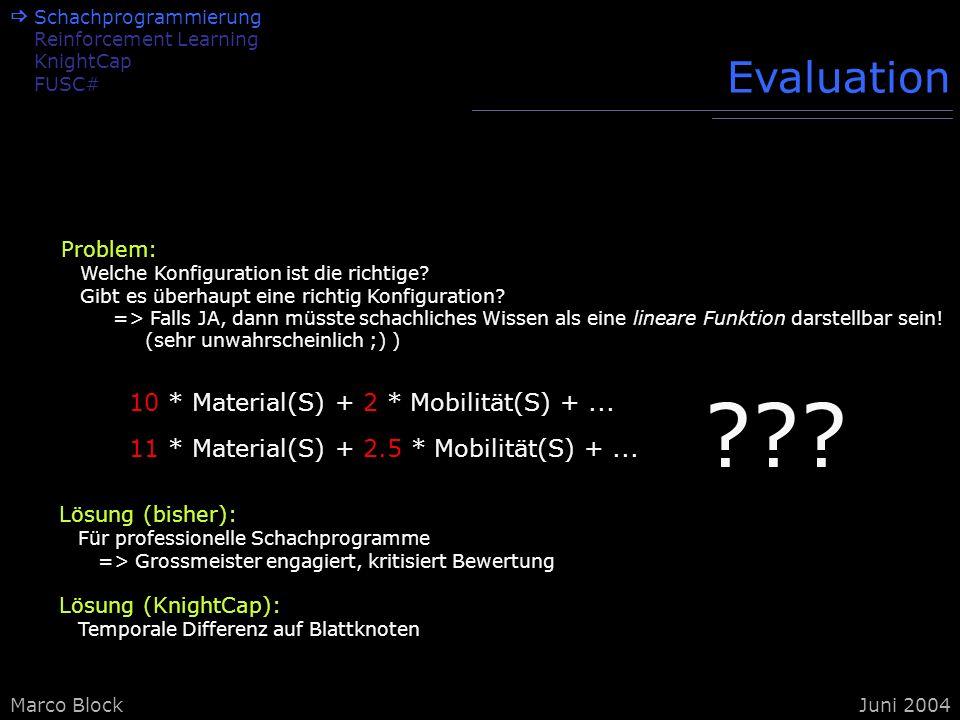 Marco BlockJuni 2004 Problem: Welche Konfiguration ist die richtige? Gibt es überhaupt eine richtig Konfiguration? => Falls JA, dann müsste schachlich