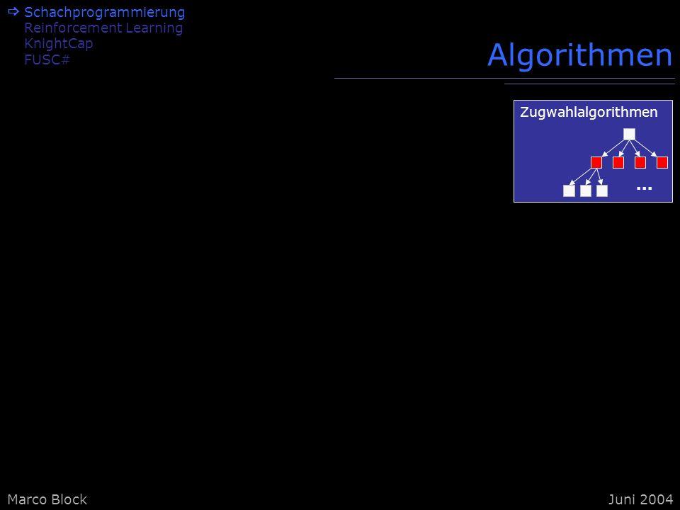 Marco BlockJuni 2004 Algorithmen Schachprogrammierung Reinforcement Learning KnightCap FUSC# Zugwahlalgorithmen...