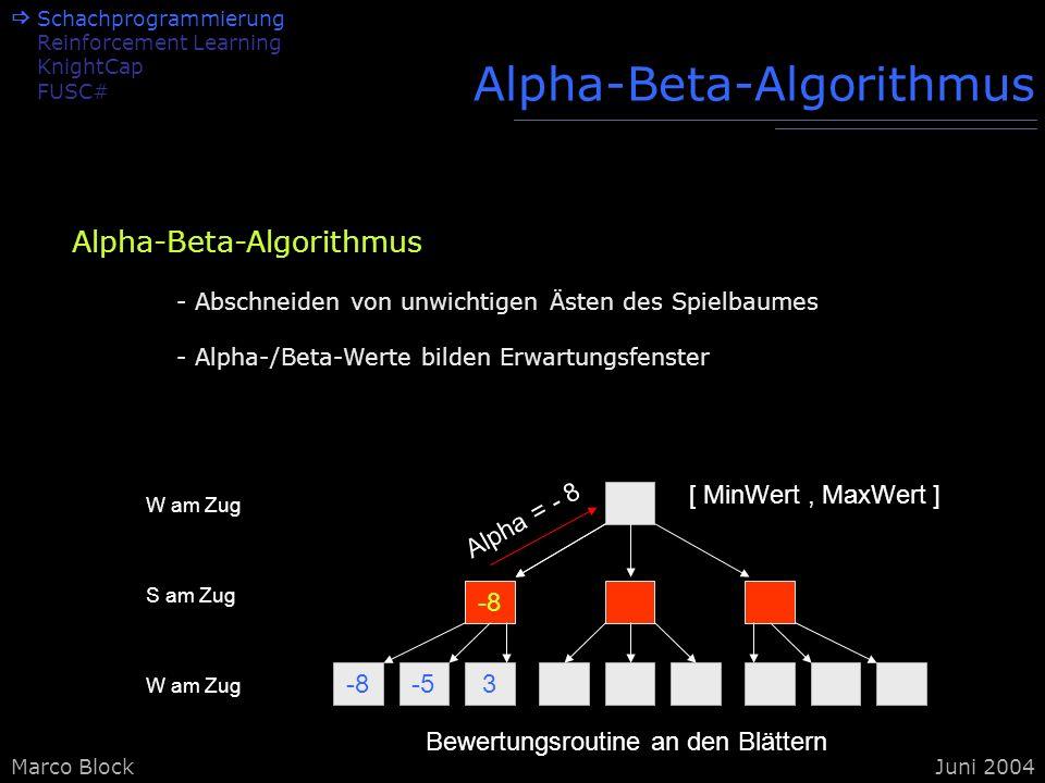 Marco BlockJuni 2004 Alpha-Beta-Algorithmus -8-53 -8 W am Zug S am Zug W am Zug Bewertungsroutine an den Blättern Alpha = - 8 [ MinWert, MaxWert ] Alp