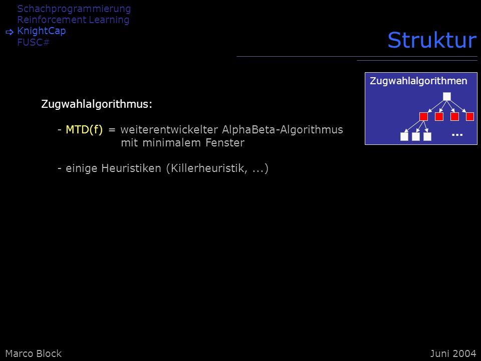 Marco BlockJuni 2004 Schachprogrammierung Reinforcement Learning KnightCap FUSC# Struktur Zugwahlalgorithmus: - MTD(f) = weiterentwickelter AlphaBeta-