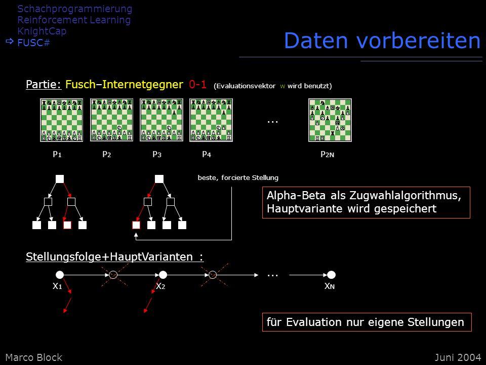 Marco BlockJuni 2004 Daten vorbereiten Stellungsfolge+HauptVarianten :... X1X1 X2X2 XNXN für Evaluation nur eigene Stellungen Alpha-Beta als Zugwahlal