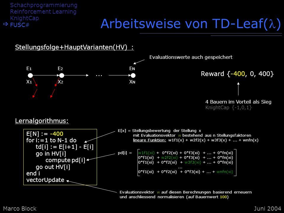 Marco BlockJuni 2004 E[x] = Stellungsbewertung der Stellung x mit Evaluationsvektor w bestehend aus n Stellungsfaktoren lineare Funktion: w1f1(x) + w2