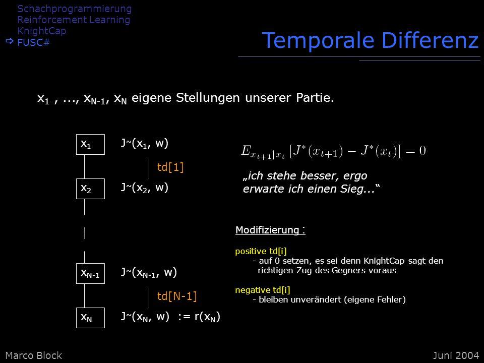 Marco BlockJuni 2004 Temporale Differenz x 1,..., x N-1, x N eigene Stellungen unserer Partie. x1x1 x2x2 x N-1 xNxN J ~ (x 1, w) J ~ (x 2, w) J ~ (x N