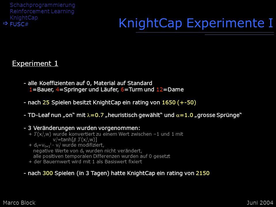 Marco BlockJuni 2004 KnightCap Experimente I - alle Koeffizienten auf 0, Material auf Standard 1=Bauer, 4=Springer und Läufer, 6=Turm und 12=Dame - na