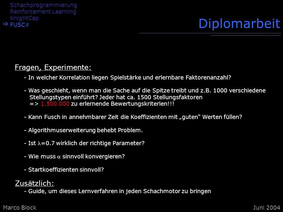 Marco BlockJuni 2004 Diplomarbeit - In welcher Korrelation liegen Spielstärke und erlernbare Faktorenanzahl? - Was geschieht, wenn man die Sache auf d