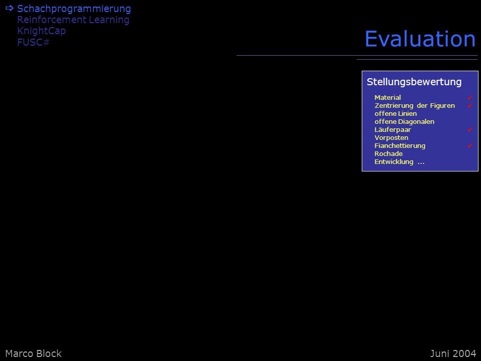 Marco BlockJuni 2004 Evaluation Schachprogrammierung Reinforcement Learning KnightCap FUSC# Stellungsbewertung Material Zentrierung der Figuren offene