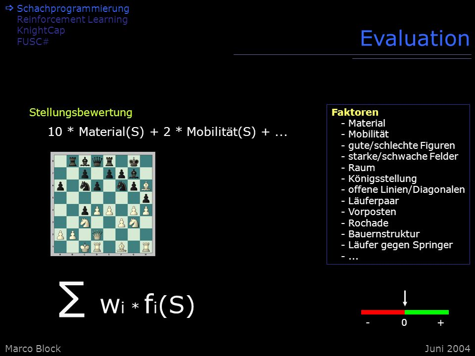 Marco BlockJuni 2004 Schachprogrammierung Reinforcement Learning KnightCap FUSC# Struktur Brettdarstellung: ToPiecesBoard Brettrepräsentation 0100110 11001...