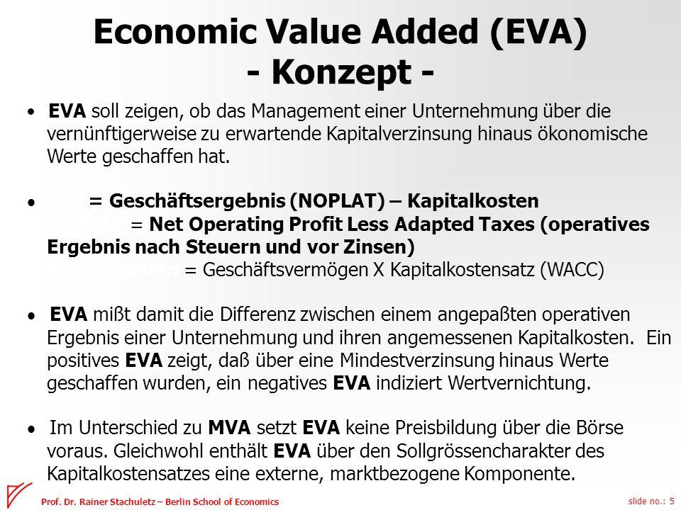 slide no.: 5 Prof. Dr. Rainer Stachuletz – Berlin School of Economics Economic Value Added (EVA) - Konzept - EVA soll zeigen, ob das Management einer