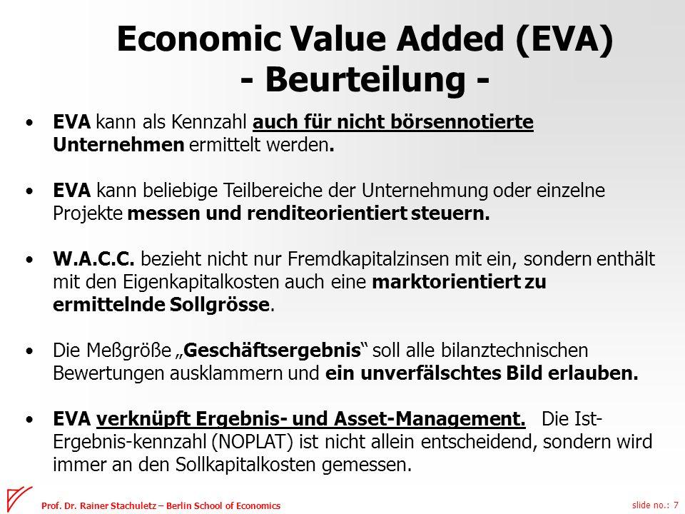 slide no.: 7 Prof. Dr. Rainer Stachuletz – Berlin School of Economics EVA kann als Kennzahl auch für nicht börsennotierte Unternehmen ermittelt werden