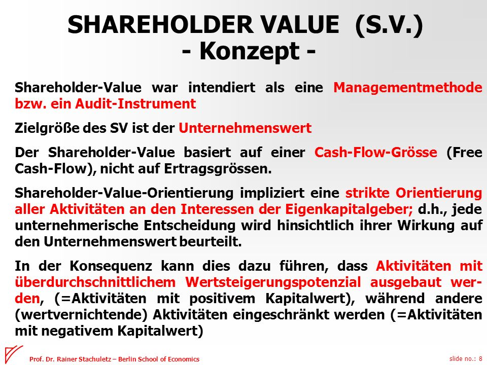 slide no.: 8 Prof. Dr. Rainer Stachuletz – Berlin School of Economics Shareholder-Value war intendiert als eine Managementmethode bzw. ein Audit-Instr