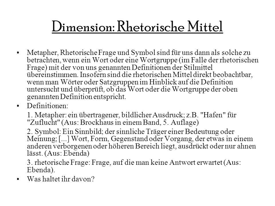 Dimension: Rhetorische Mittel Metapher, Rhetorische Frage und Symbol sind für uns dann als solche zu betrachten, wenn ein Wort oder eine Wortgruppe (i