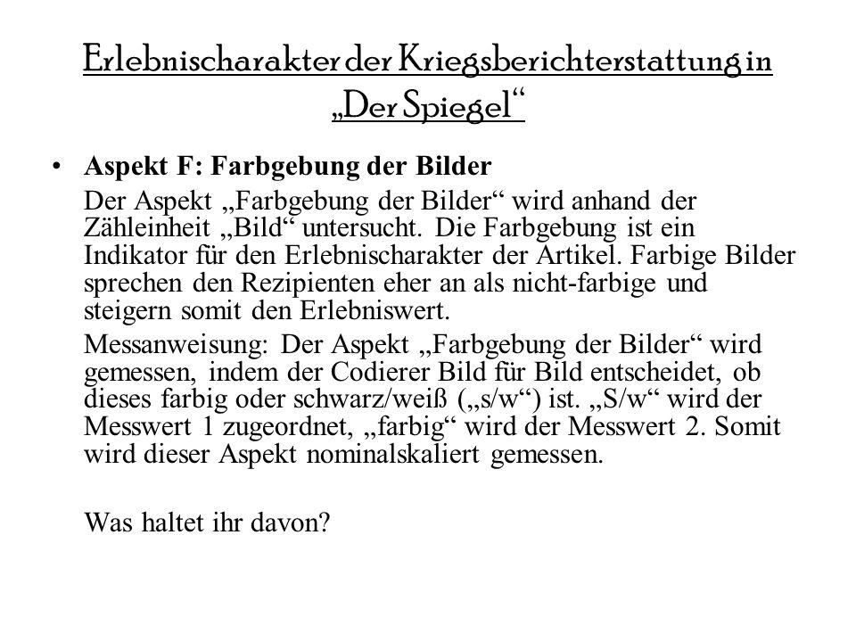 Erlebnischarakter der Kriegsberichterstattung in Der Spiegel Aspekt F: Farbgebung der Bilder Der Aspekt Farbgebung der Bilder wird anhand der Zähleinh