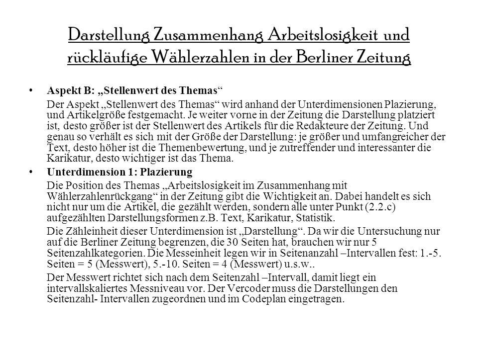 Darstellung Zusammenhang Arbeitslosigkeit und rückläufige Wählerzahlen in der Berliner Zeitung Aspekt B: Stellenwert des Themas Der Aspekt Stellenwert