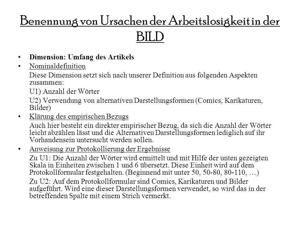 Benennung von Ursachen der Arbeitslosigkeit in der BILD Dimension: Umfang des Artikels Nominaldefinition Diese Dimension setzt sich nach unserer Defin