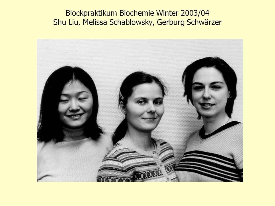 Blockpraktikum Biochemie Winter 2003/04 Sven-Holger Puppel und Sandra Schmidt