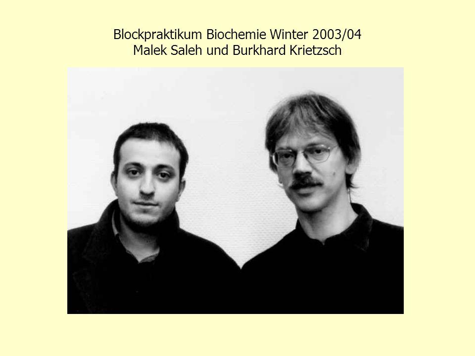 Blockpraktikum Biochemie Winter 2003/04 Malek Saleh und Burkhard Krietzsch