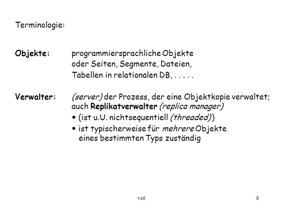 vs68 Terminologie: Objekte:programmiersprachliche Objekte oder Seiten, Segmente, Dateien, Tabellen in relationalen DB,.....