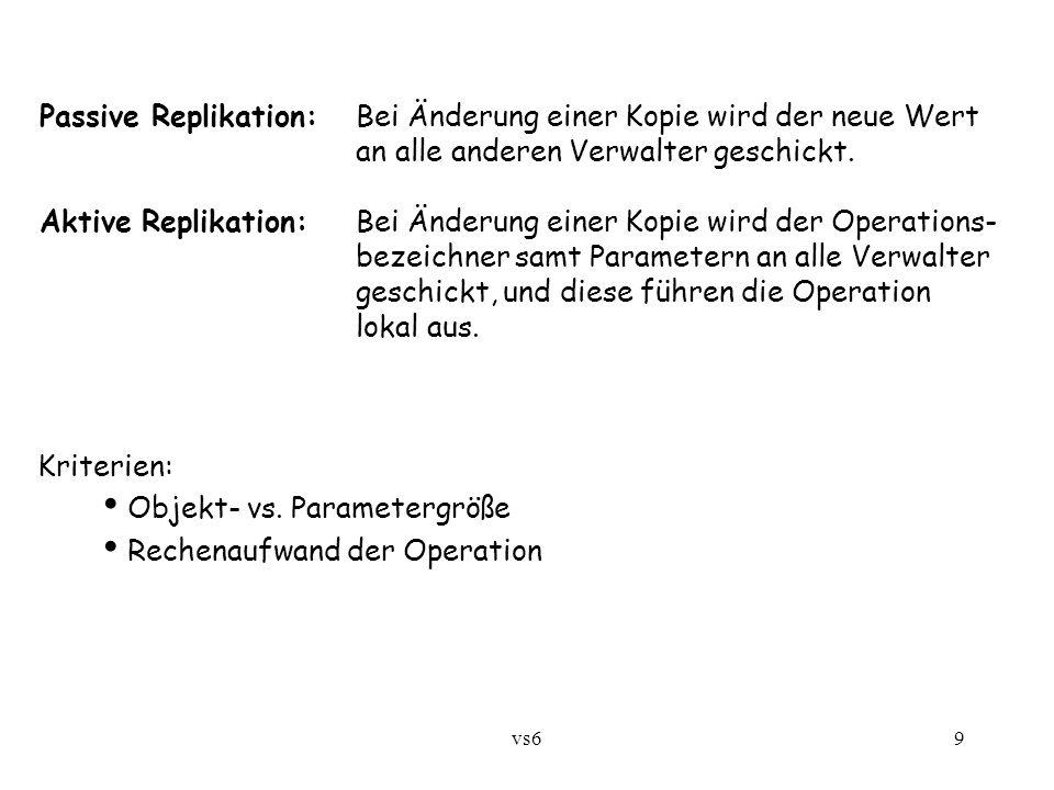 vs69 Passive Replikation:Bei Änderung einer Kopie wird der neue Wert an alle anderen Verwalter geschickt.