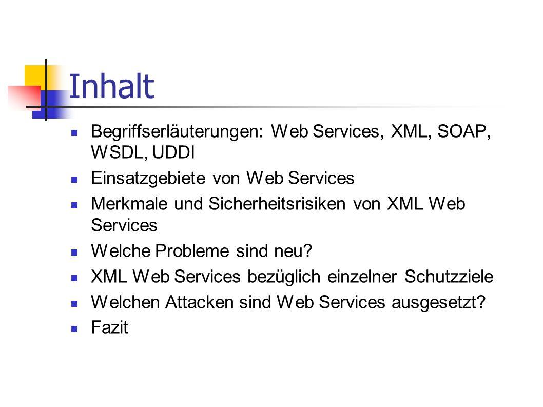 Inhalt Begriffserläuterungen: Web Services, XML, SOAP, WSDL, UDDI Einsatzgebiete von Web Services Merkmale und Sicherheitsrisiken von XML Web Services