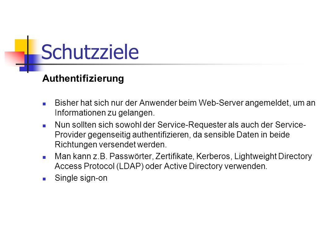 Schutzziele Authentifizierung Bisher hat sich nur der Anwender beim Web-Server angemeldet, um an Informationen zu gelangen. Nun sollten sich sowohl de