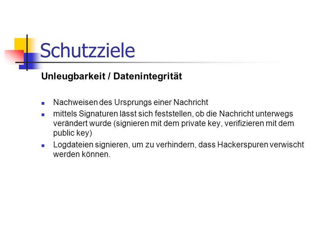 Schutzziele Unleugbarkeit / Datenintegrität Nachweisen des Ursprungs einer Nachricht mittels Signaturen lässt sich feststellen, ob die Nachricht unter