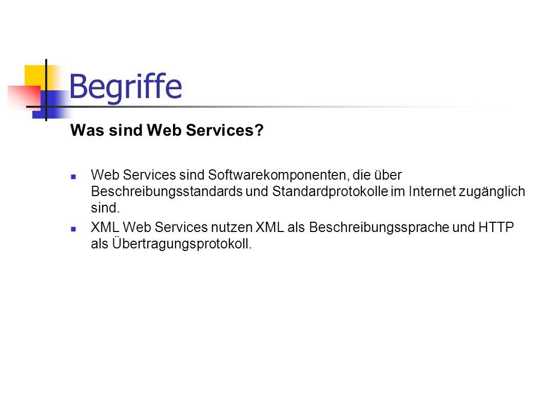 Begriffe Was sind Web Services? Web Services sind Softwarekomponenten, die über Beschreibungsstandards und Standardprotokolle im Internet zugänglich s