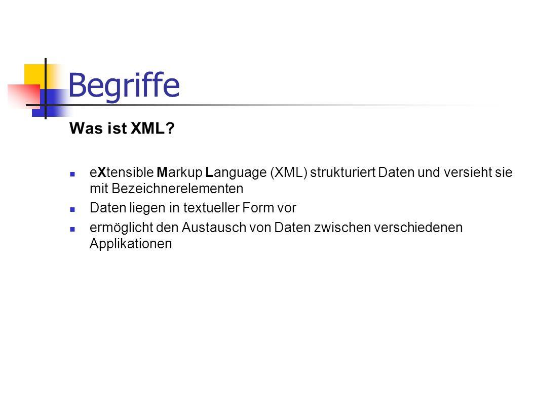 Begriffe Was ist XML? eXtensible Markup Language (XML) strukturiert Daten und versieht sie mit Bezeichnerelementen Daten liegen in textueller Form vor