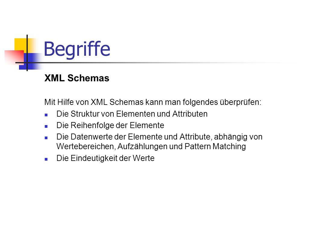 Begriffe XML Schemas Mit Hilfe von XML Schemas kann man folgendes überprüfen: Die Struktur von Elementen und Attributen Die Reihenfolge der Elemente D