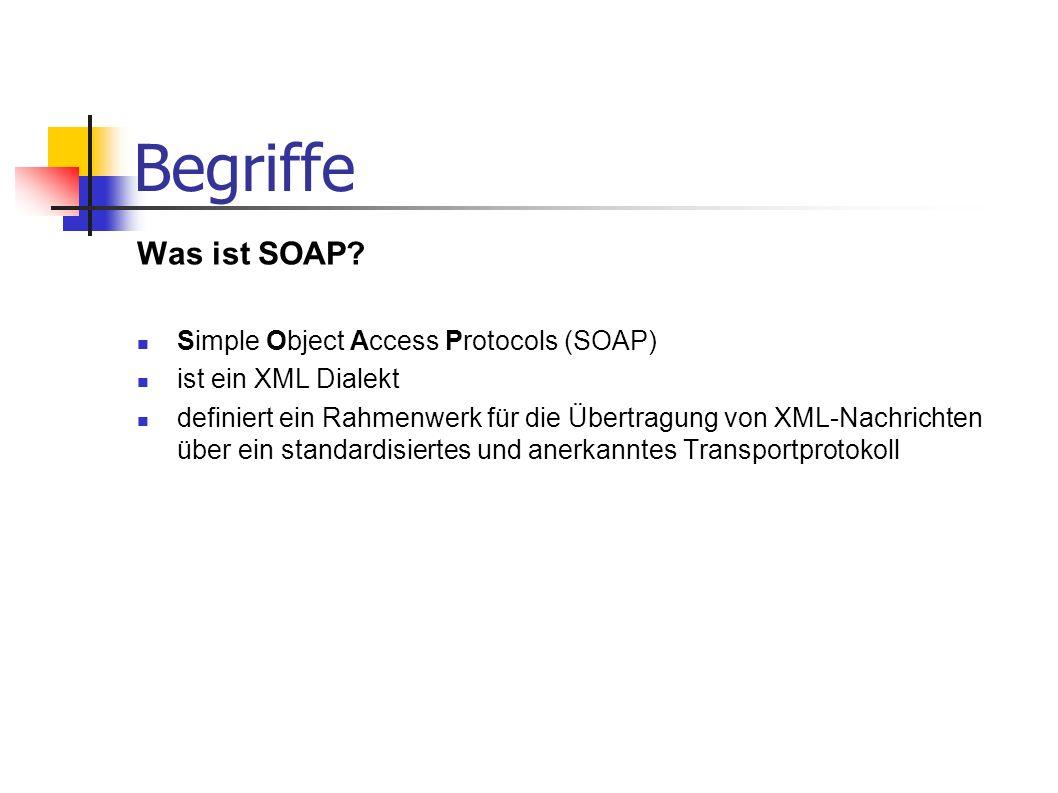 Begriffe Was ist SOAP? Simple Object Access Protocols (SOAP) ist ein XML Dialekt definiert ein Rahmenwerk für die Übertragung von XML-Nachrichten über