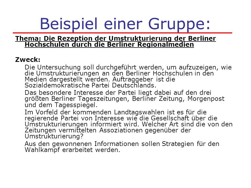 Beispiel einer Gruppe: Thema: Die Rezeption der Umstrukturierung der Berliner Hochschulen durch die Berliner Regionalmedien Zweck: Die Untersuchung so