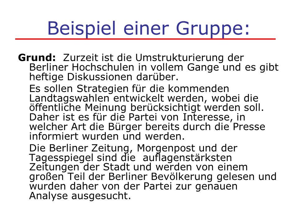 Beispiel einer Gruppe: Grund: Zurzeit ist die Umstrukturierung der Berliner Hochschulen in vollem Gange und es gibt heftige Diskussionen darüber. Es s