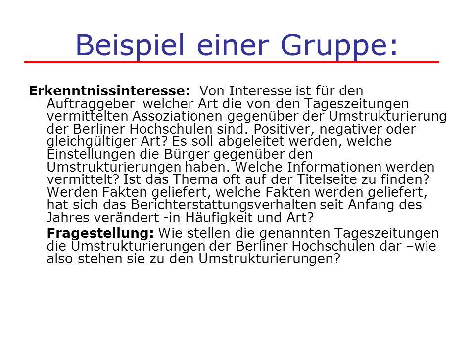 Beispiel einer Gruppe: Erkenntnissinteresse: Von Interesse ist für den Auftraggeber welcher Art die von den Tageszeitungen vermittelten Assoziationen gegenüber der Umstrukturierung der Berliner Hochschulen sind.