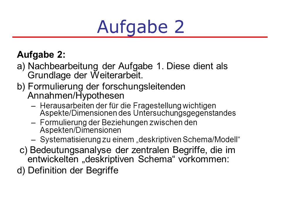 Aufgabe 2 Aufgabe 2: a) Nachbearbeitung der Aufgabe 1. Diese dient als Grundlage der Weiterarbeit. b) Formulierung der forschungsleitenden Annahmen/Hy