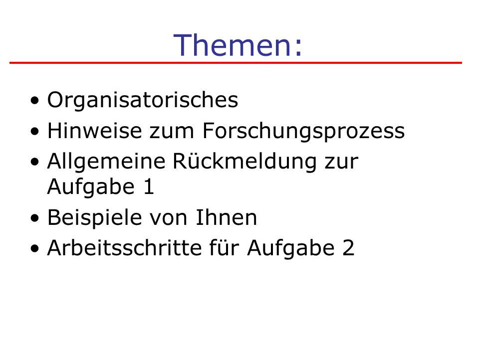 Themen: Organisatorisches Hinweise zum Forschungsprozess Allgemeine Rückmeldung zur Aufgabe 1 Beispiele von Ihnen Arbeitsschritte für Aufgabe 2