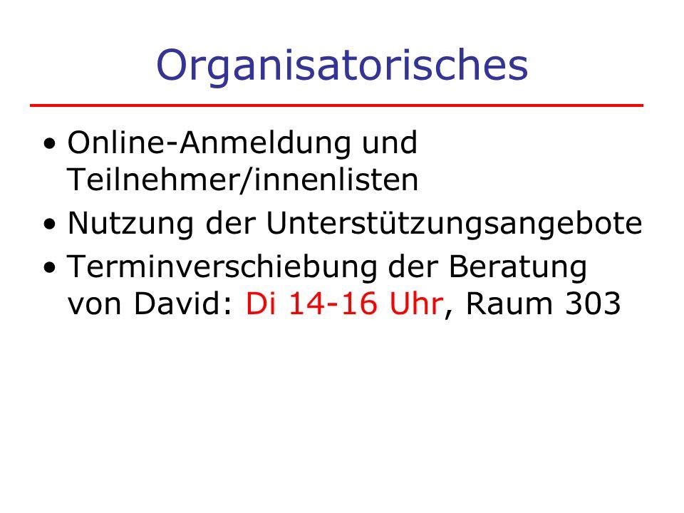 Organisatorisches Online-Anmeldung und Teilnehmer/innenlisten Nutzung der Unterstützungsangebote Terminverschiebung der Beratung von David: Di 14-16 Uhr, Raum 303