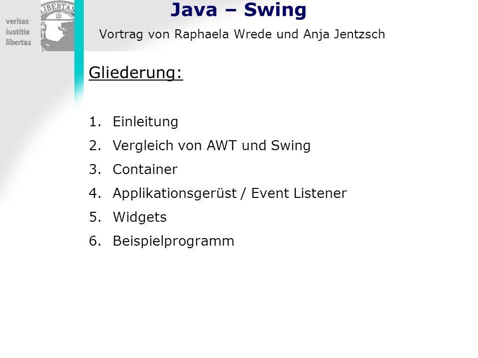 Java – Swing Vortrag von Raphaela Wrede und Anja Jentzsch Gliederung: 1.Einleitung 2.Vergleich von AWT und Swing 3.Container 4.Applikationsgerüst / Ev