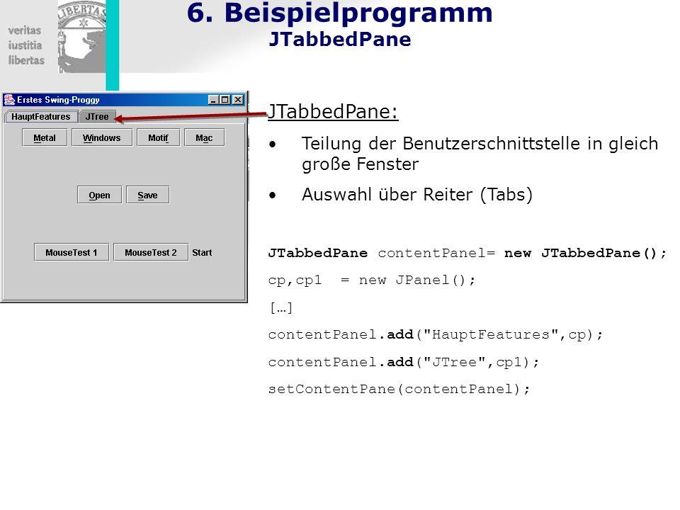 6. Beispielprogramm JTabbedPane JTabbedPane: Teilung der Benutzerschnittstelle in gleich große Fenster Auswahl über Reiter (Tabs) JTabbedPane contentP
