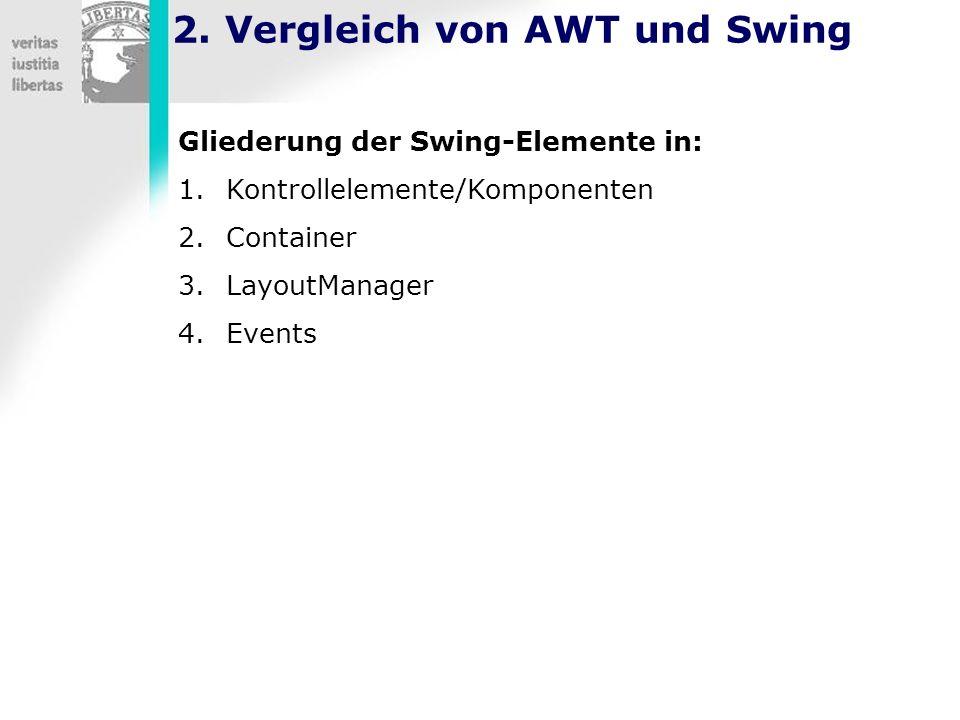 2. Vergleich von AWT und Swing Gliederung der Swing-Elemente in: 1.Kontrollelemente/Komponenten 2.Container 3.LayoutManager 4.Events