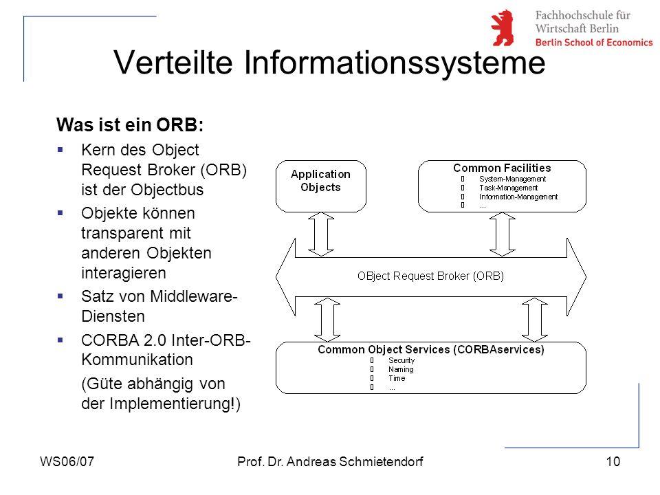 WS06/07Prof. Dr. Andreas Schmietendorf10 Verteilte Informationssysteme Was ist ein ORB: Kern des Object Request Broker (ORB) ist der Objectbus Objekte