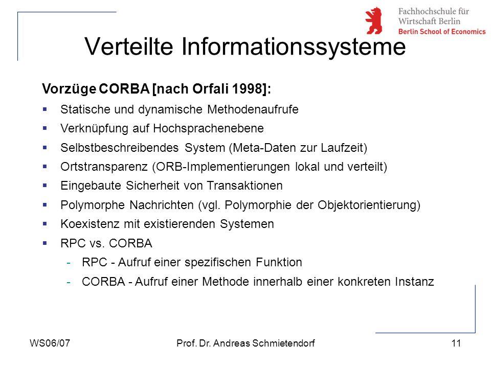 WS06/07Prof. Dr. Andreas Schmietendorf11 Verteilte Informationssysteme Vorzüge CORBA [nach Orfali 1998]: Statische und dynamische Methodenaufrufe Verk