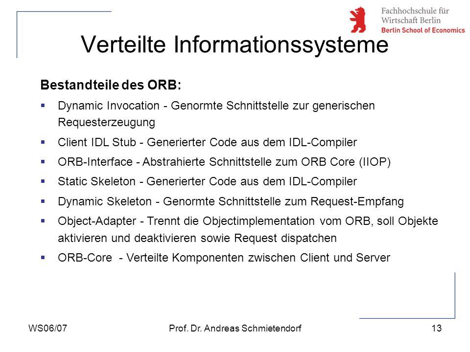 WS06/07Prof. Dr. Andreas Schmietendorf13 Verteilte Informationssysteme Bestandteile des ORB: Dynamic Invocation - Genormte Schnittstelle zur generisch