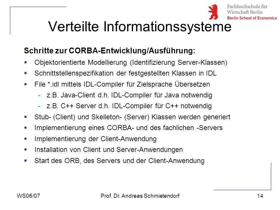 WS06/07Prof. Dr. Andreas Schmietendorf14 Verteilte Informationssysteme Schritte zur CORBA-Entwicklung/Ausführung: Objektorientierte Modellierung (Iden