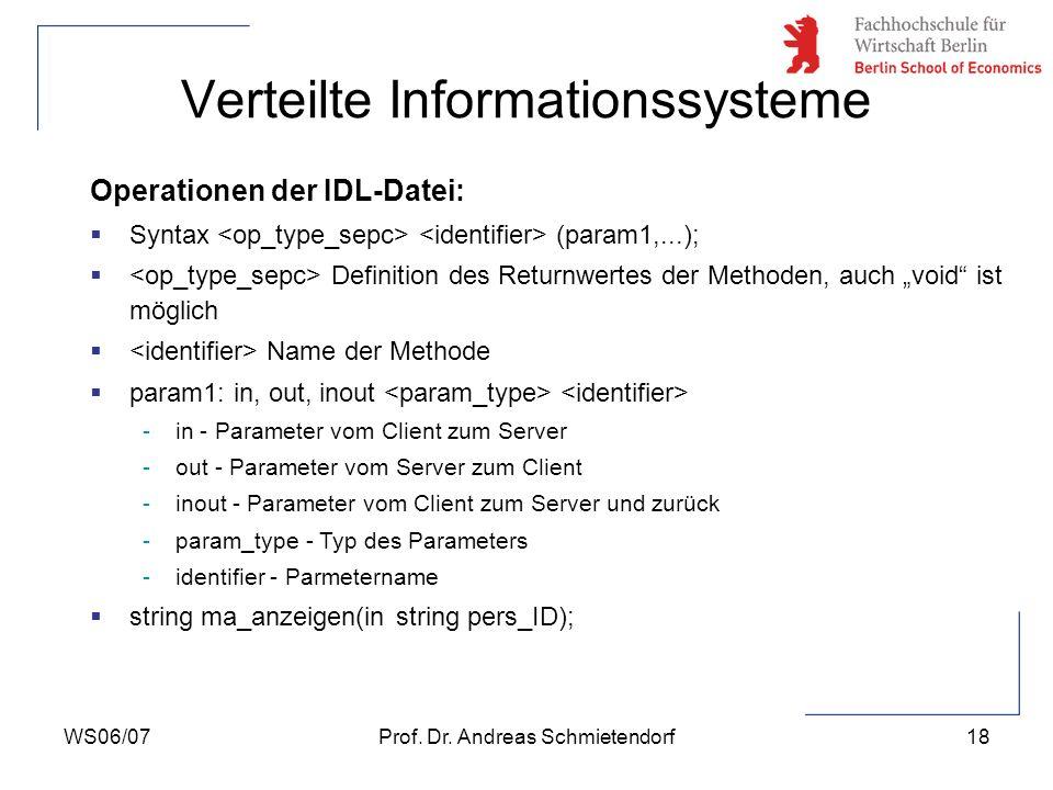WS06/07Prof. Dr. Andreas Schmietendorf18 Verteilte Informationssysteme Operationen der IDL-Datei: Syntax (param1,...); Definition des Returnwertes der