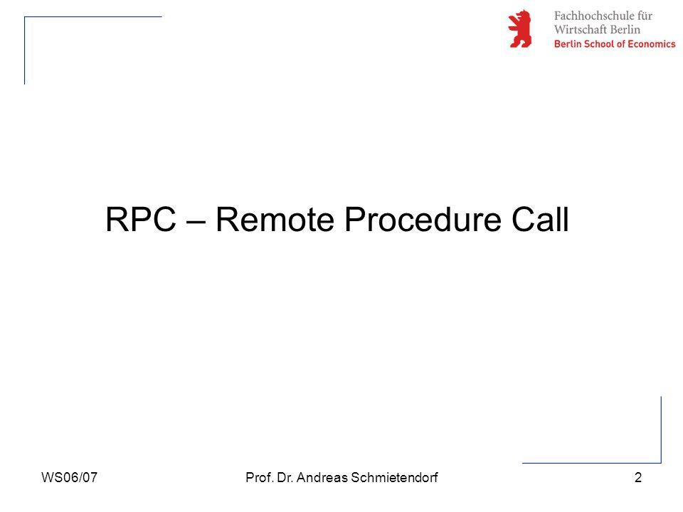 WS06/07Prof. Dr. Andreas Schmietendorf2 RPC – Remote Procedure Call