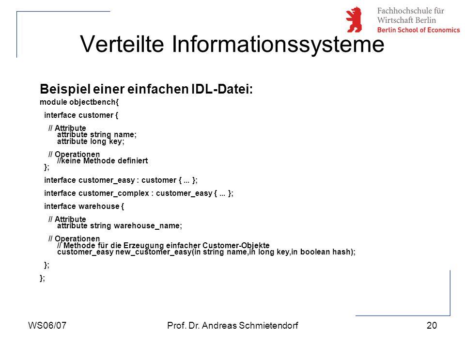 WS06/07Prof. Dr. Andreas Schmietendorf20 Verteilte Informationssysteme Beispiel einer einfachen IDL-Datei: module objectbench{ interface customer { //