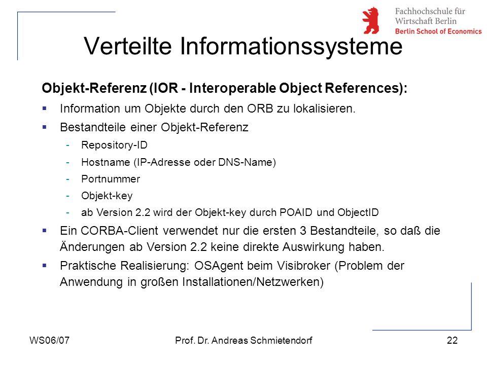 WS06/07Prof. Dr. Andreas Schmietendorf22 Verteilte Informationssysteme Objekt-Referenz (IOR - Interoperable Object References): Information um Objekte