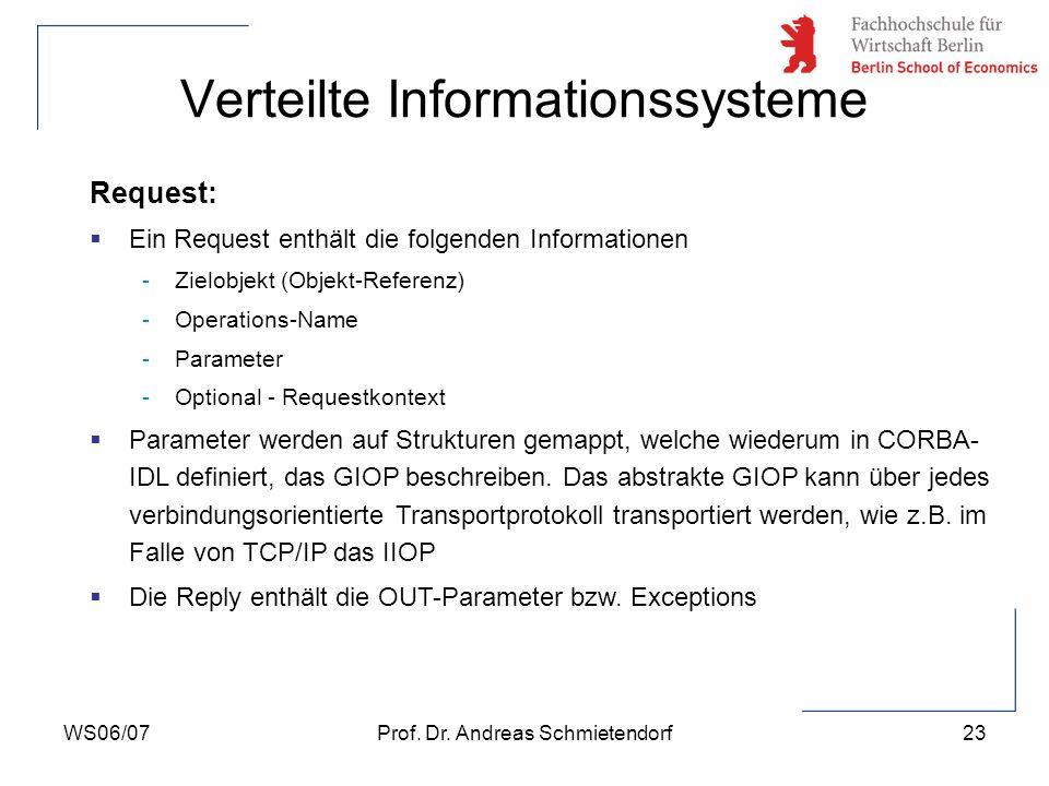 WS06/07Prof. Dr. Andreas Schmietendorf23 Verteilte Informationssysteme Request: Ein Request enthält die folgenden Informationen -Zielobjekt (Objekt-Re