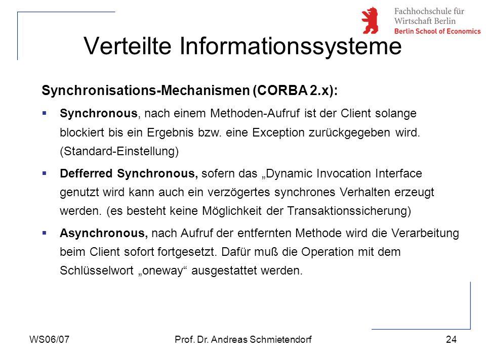 WS06/07Prof. Dr. Andreas Schmietendorf24 Verteilte Informationssysteme Synchronisations-Mechanismen (CORBA 2.x): Synchronous, nach einem Methoden-Aufr