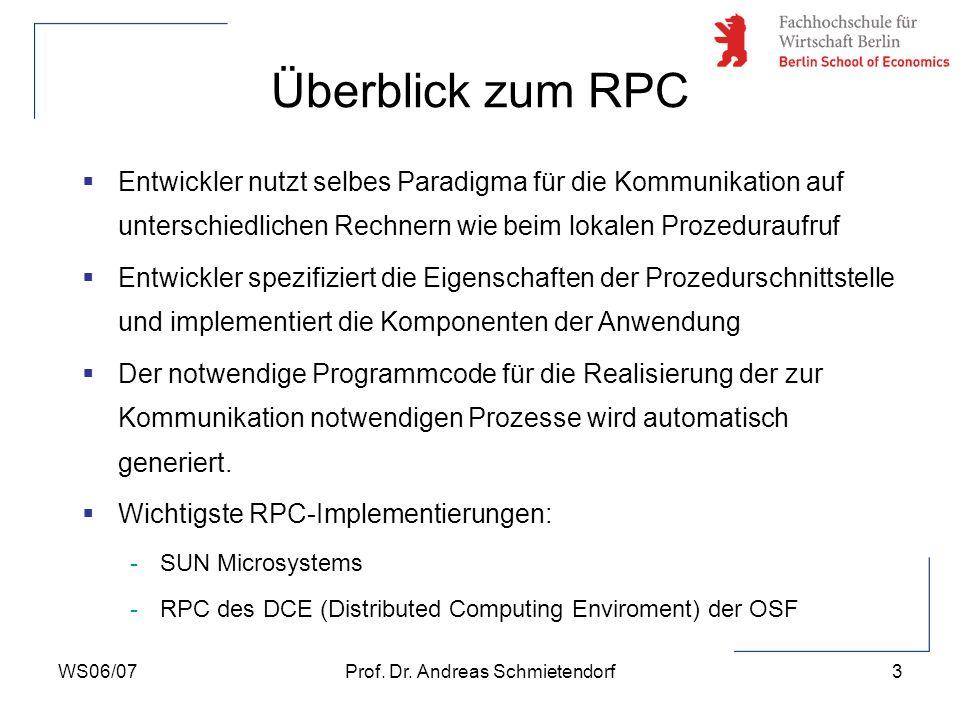 WS06/07Prof. Dr. Andreas Schmietendorf3 Überblick zum RPC Entwickler nutzt selbes Paradigma für die Kommunikation auf unterschiedlichen Rechnern wie b